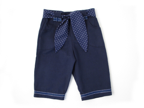 Girls' Capri Trousers Marine Blue Twill