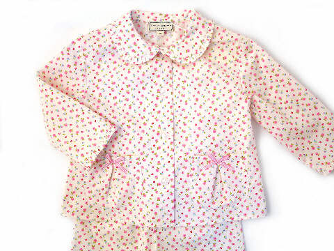 Darcy Brown Girls' Jersey Frilly Pyjamas Lottie Cream