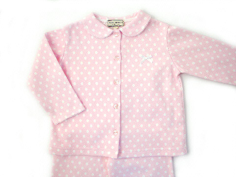 Darcy Brown Girls' Jersey Pyjamas Pink Polka Dot