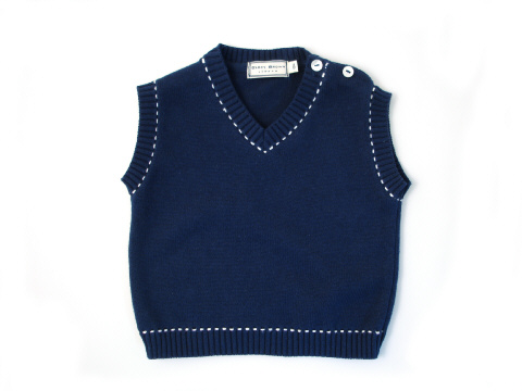Stitch Tank Top Navy:Cream